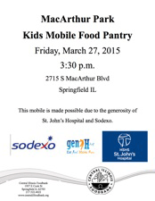 MBA Mobile Food Pantry March 27, 2015, 3:30 pm.