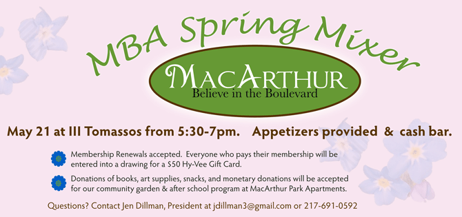 MBA Spring Mixer May 21, 2015 at Ill Tomassos from 5:30 to 7 pm.