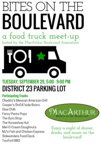 Bites on the Boulevard - MacArthur Boulevard Springfield, IL Tuesday, September 29, 5-9pm.