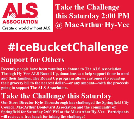 #IceBucketChallenge at Hy-Vee in Springfield, IL on Saturday, August 23rd.