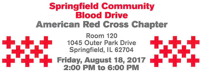 Springfield Community Blood Drive on August 18, 2-6pm at American Red Cross