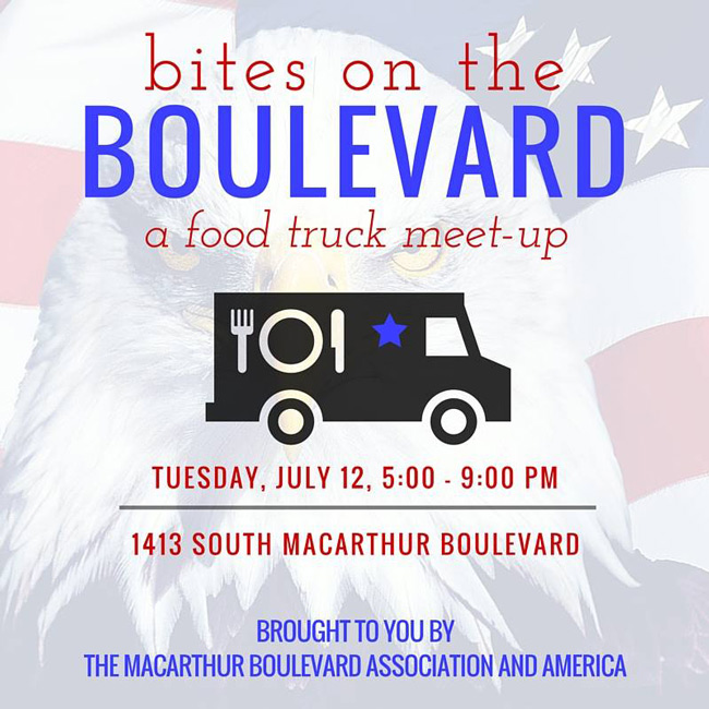 Bites on the Boulevard, a food truck meet-up on Tuesday, July 12, 5:00-9:00 pm