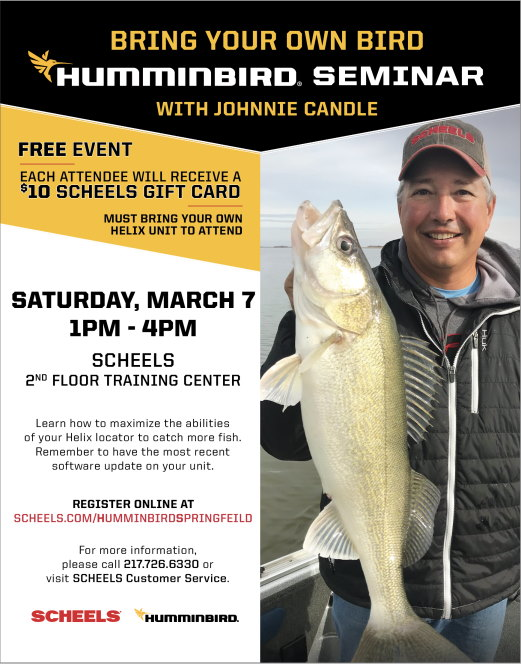 Johnnie Candle Humminbird Seminar on Saturday, March 7, 2020 - Attend the FREE Humminbird Seminar presented by Johnnie Candle.