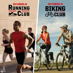 SCHEELS Biking Club & SCHEELS Running Club, Every Thursday, from April 25 to September 26 at 5:45 PM. Meet at SCHEELS, 2801 S. MacArthur Boulevard Springfield, IL 62711 - Departure from SE Side of the front entrance.